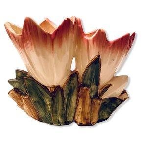 Vintage McCoy Double tulip flower vase planter